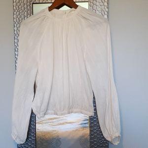 Pretty Long Sleeve White Cotton Blouse-SZ 6
